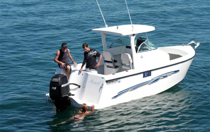 The marlin board of the Fibrelite 6250 Centre Cab is great resting place and the folding ladder makes for an easy climb back on board