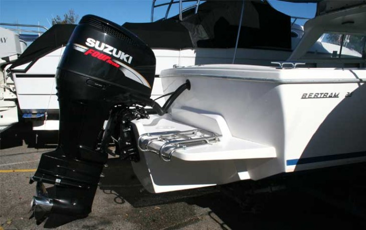 Bertram 25 Outboard Motor Pod and Marlin Board.