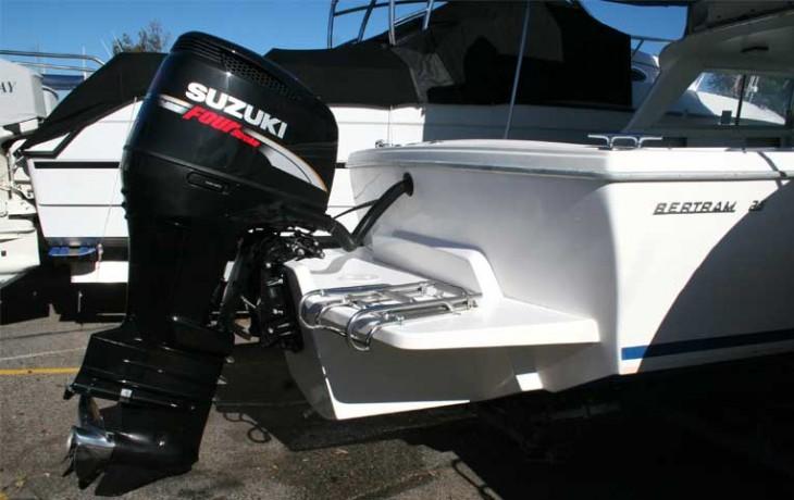 Bertram 25 Outboard Motor Pod and Marlin Board.