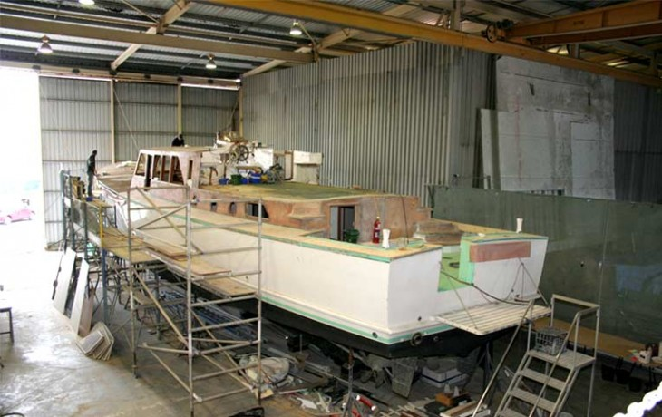 Repair and refit, 70' Randell Launch 'Manitoba' (Circa 1965) saloon being rebuilt