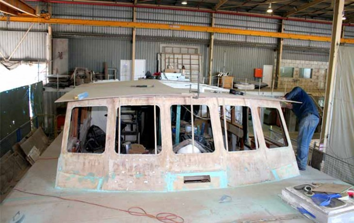 Repair and refit, 70' Randell Launch 'Manitoba' (Circa 1965) replacement of saloon roof under way