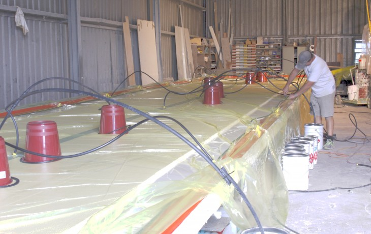 Preparing to infuse a composite insulation panel, composition to clients specification, 17 X 3 metres.