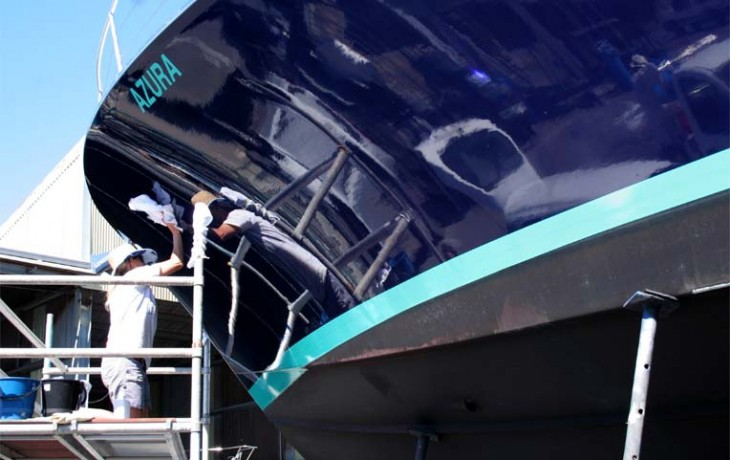 Hull cleaning and polishing as a component of a scheduled maintenance of the hull.