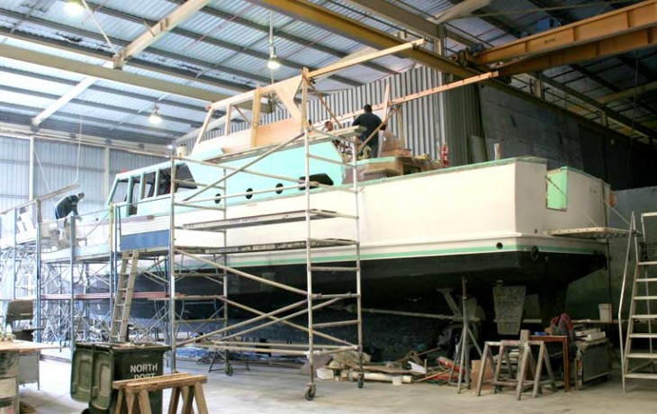New wheelhouse under construction refit 70' Randell Launch 'Manitoba' (Circa 1965)