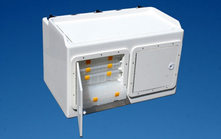Tackle and Bait Station, large pedestal mount, approximately 870mm x 620mm x 600mm.