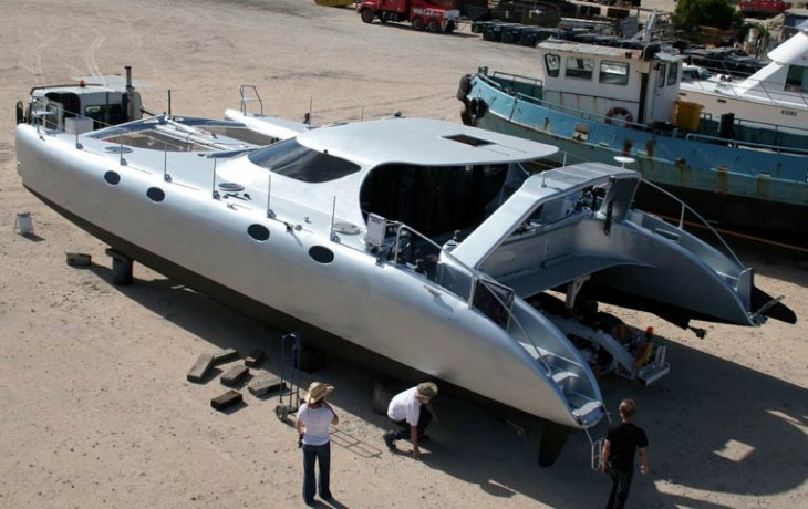 Transporting and hardstanding, 50' Schionning Catamaran after completing fit-out