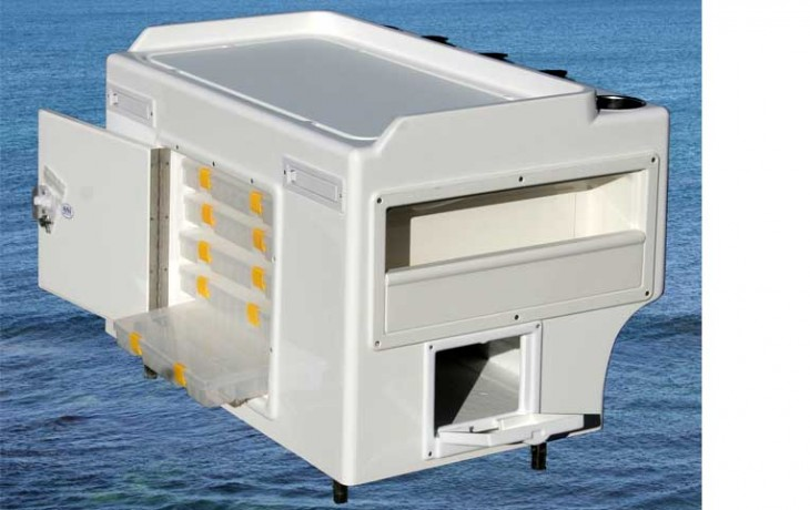 Medium Tackle and Bait Station, approximately 870mm x 620mm x 600mm.