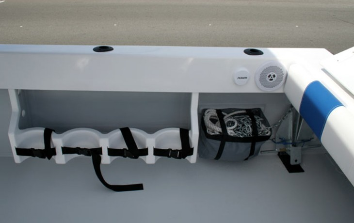 4 of the 8 scuba tank racks fitted to Fibrelite Runabout, with bag for aft anchor chain and rope