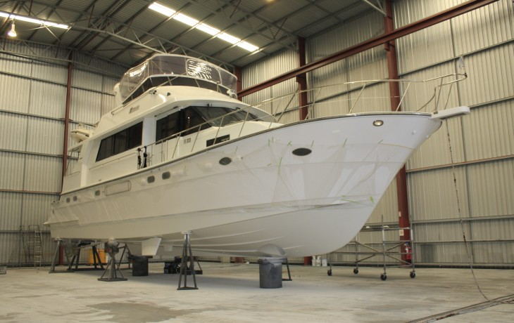 Jefferson 70 prepared for application of anti-foul.  Repairs to the hull, stabilizers and propeller shaft bearings completed.