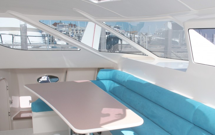 Completed saloon 45' Schionning catamaran.