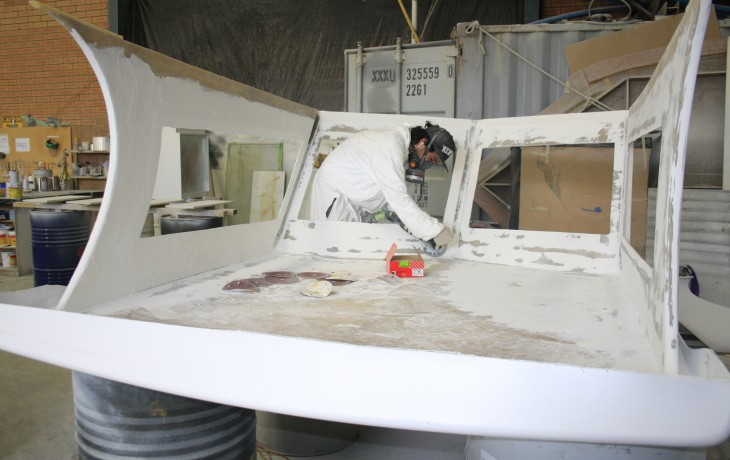 Fairing the custom built wheel house for a Haines Hunter