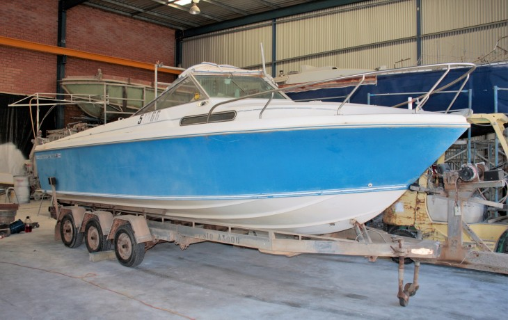 Haines Hunter 243 L circa 1970 as delivered to Fibrelite Boats for a complete refit.