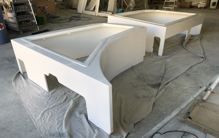 Spar boxes prior to installation on a Mondo Marine L5