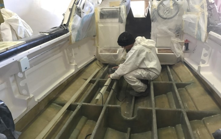 The transom and under floor stucture in the process of being totally rebuilt.