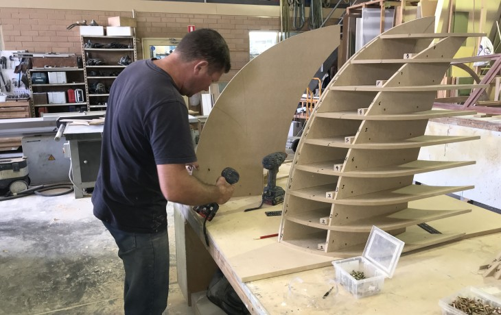 Building aft corner extensions for a Maritimo 50.