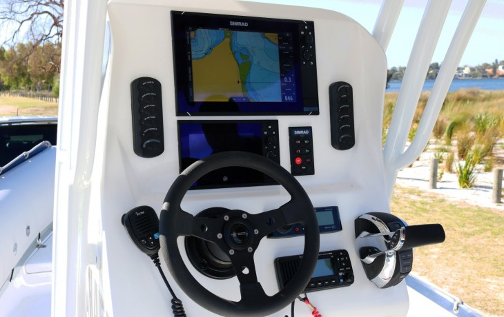 Simrad NSS 12 & NSS 9 coupled with a V169 tilted element 1kw transducer comprise the electronics package fitted by Fibrelite.