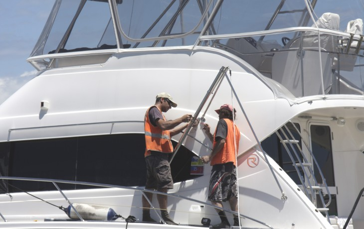 Installing Out Riggers to a Riviera  as part of a whole upgrade of the boats fishing capability.