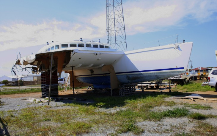 Severly damaged 57' Lagoon Catmaran requires replacement starboard hull and other extensive repairs.