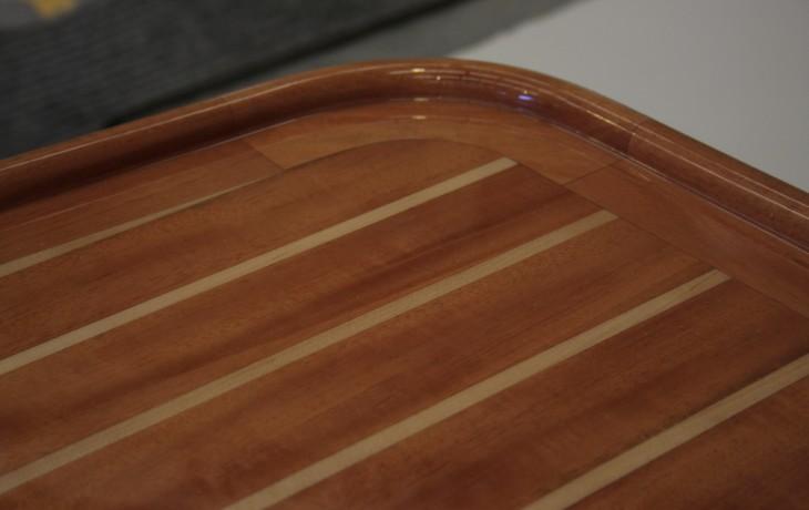 Custom table mahogany and maple.