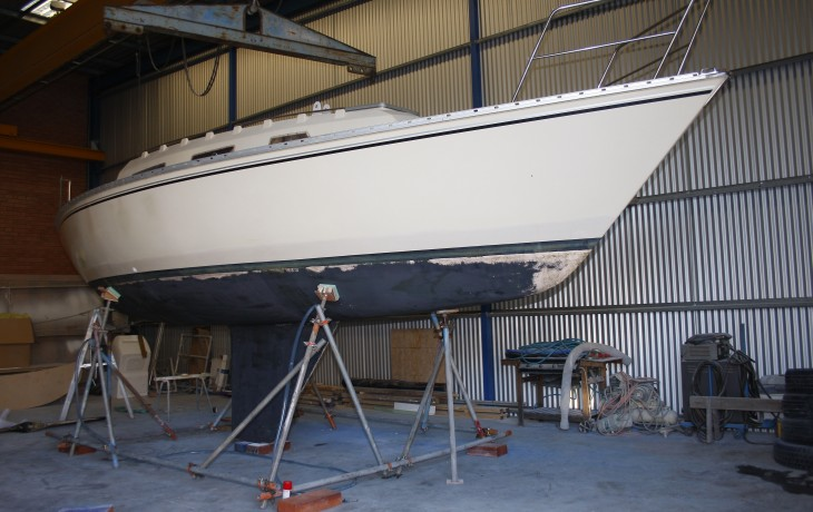 Petersen 30 at the beginning of a repainting and upgrading project.