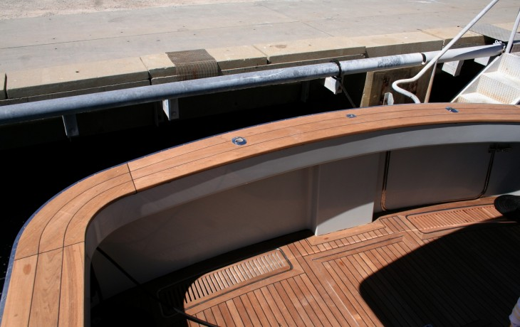 Teak deck repair and replacment covers fitted. Assegai 54.