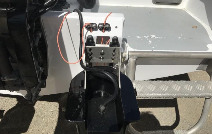 Beach launch installation of Furuno 200B-8B transducer in a Fibrelite fairing  - up position.