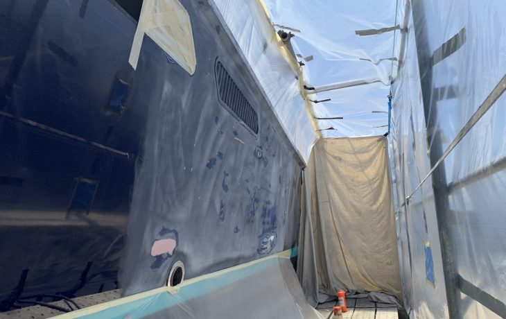 Assegia 54 hull repairs underway.